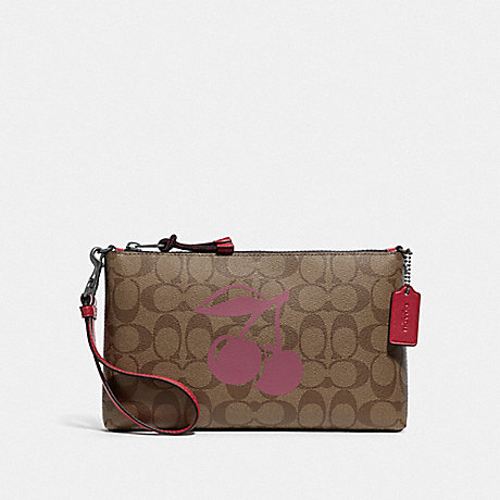COACH F78304 LARGE WRISTLET 25 IN SIGNATURE CANVAS WITH CHERRY MOTIF QB/KHAKI MULTI