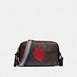 COACH F78307 Crossbody Pouch In Signature Canvas With Strawberry Motif QB/BROWN BLACK MULTI