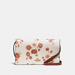 HAYDEN FOLDOVER CROSSBODY CLUTCH WITH PRAIRIE DAISY CLUSTER PRINT - F78328 - CHALK MULTI/IMITATION GOLD
