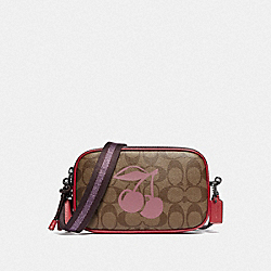 COACH F78357 Crossbody Pouch In Signature Canvas With Cherry Motif QB/KHAKI MULTI