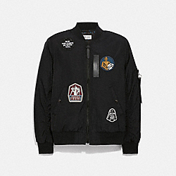 COACH F78455 Star Wars X Coach Reversible Ma-1 Jacket With Patches BLACK