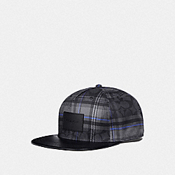 COACH F78492 Flat Brim Hat SIG C PLAID
