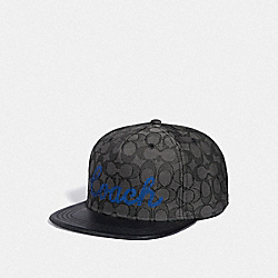 COACH F78493 Translucent Signature Flat Brim Hat GRAPHITE SIGNATURE
