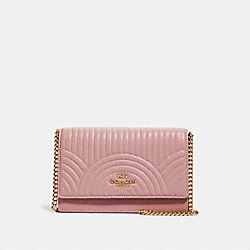 COACH F78527 Flap Belt Bag With Art Deco Quilting IM/PINK