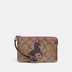 COACH F78669 Corner Zip Wristlet In Signature Canvas With Unicorn Motif QB/KHAKI MULTI