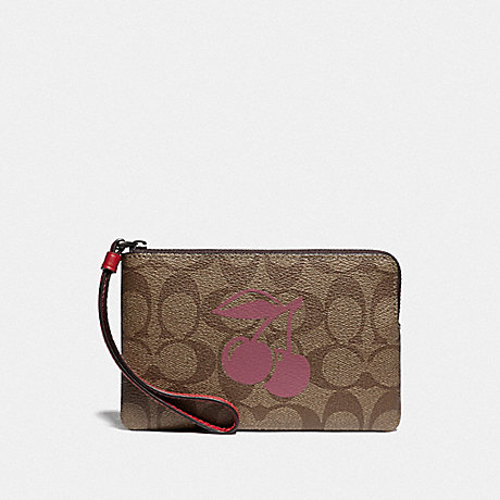 COACH F78670 CORNER ZIP WRISTLET IN SIGNATURE CANVAS WITH CHERRY MOTIF QB/KHAKI MULTI