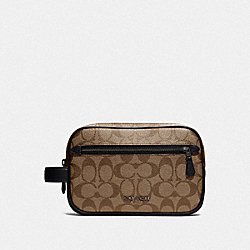 COACH F78674 - DOUBLE ZIP OVERNIGHT KIT IN SIGNATURE CANVAS TAN/BLACK ANTIQUE NICKEL