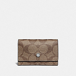 COACH F78675 - FIVE RING KEY CASE IN SIGNATURE CANVAS TAN/BLACK ANTIQUE NICKEL