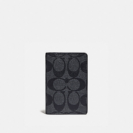 COACH F78676 CARD WALLET IN COLORBLOCK SIGNATURE CANVAS CHARCOAL/BLUE MULTI/BLACK ANTIQUE NICKEL