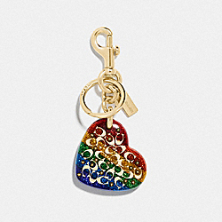COACH F78691 Sprinkle Signature Heart Bag Charm MULTICOLOR