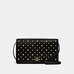 HAYDEN FOLDOVER CROSSBODY CLUTCH WITH RIVETS - F78698 - BLACK/IMITATION GOLD