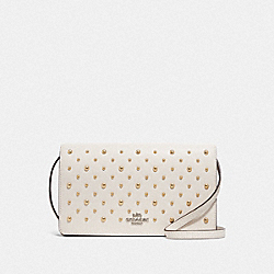 HAYDEN FOLDOVER CROSSBODY CLUTCH WITH RIVETS - F78698 - CHALK/SILVER