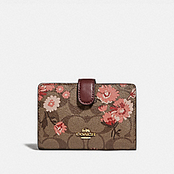 COACH F78699 - MEDIUM CORNER ZIP WALLET IN SIGNATURE CANVAS WITH PRAIRIE DAISY CLUSTER PRINT KHAKI CORAL MULTI/IMITATION GOLD