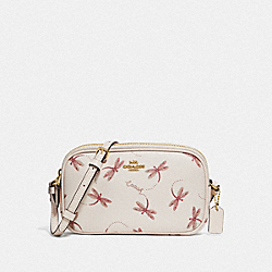 CROSSBODY POUCH WITH DRAGONFLY PRINT - F78700 - IM/CHALK MULTI