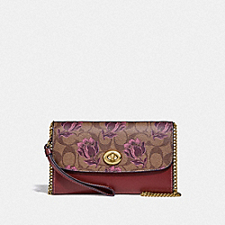 CHAIN CROSSBODY IN SIGNATURE CANVAS WITH DESERT TULIP PRINT - F78702 - IM/KHAKI PINK MULTI
