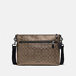 GRAHAM SOFT MESSENGER IN SIGNATURE CANVAS - F78722 - TAN/BLACK ANTIQUE NICKEL