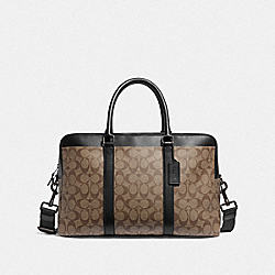 COACH F78724 - TREKKER CARRYALL IN SIGNATURE CANVAS TAN/BLACK ANTIQUE NICKEL