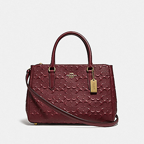 COACH F78751 SURREY CARRYALL IN SIGNATURE LEATHER WINE/IMITATION GOLD