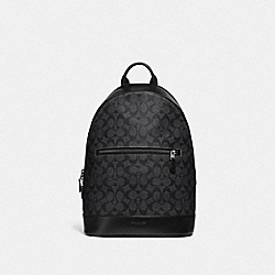 WEST SLIM BACKPACK IN SIGNATURE CANVAS - F78756 - CHARCOAL/BLACK/BLACK ANTIQUE NICKEL