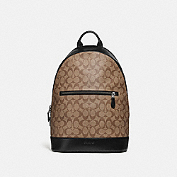 COACH F78756 West Slim Backpack In Signature Canvas TAN/BLACK ANTIQUE NICKEL