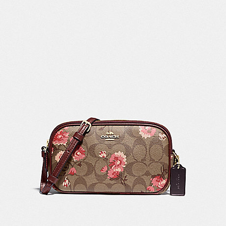 COACH F78844 CROSSBODY POUCH IN SIGNATURE CANVAS WITH PRAIRIE DAISY CLUSTER PRINT KHAKI CORAL MULTI/IMITATION GOLD