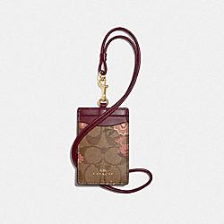 COACH F78845 Id Lanyard In Signature Canvas With Prairie Daisy Cluster Print KHAKI CORAL MULTI/IMITATION GOLD