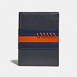 PASSPORT CASE WITH BASEBALL STITCH - F78998 - MIDNIGHT NAVY/ CADET/ DARK ORANGE/BLACK ANTIQUE NICKEL