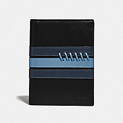 COACH F78998 - PASSPORT CASE WITH BASEBALL STITCH BLACK/ MIDNIGHT NAVY/ WASHED BLUE/BLACK ANTIQUE NICKEL