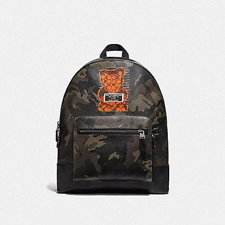 COACH F79051 WEST BACKPACK WITH CAMO PRINT AND VANDAL GUMMY GREEN/BLACK ANTIQUE NICKEL