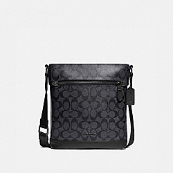 GRAHAM FLAT CROSSBODY IN SIGNATURE CANVAS - F79053 - CHARCOAL/BLACK/BLACK ANTIQUE NICKEL