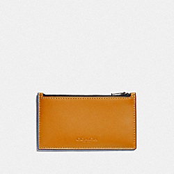 COACH F79151 Zip Card Case In Colorblock AMBER/BLACK ANTIQUE NICKEL
