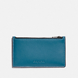 COACH F79151 - ZIP CARD CASE IN COLORBLOCK DARK ATLANTIC/BLACK ANTIQUE NICKEL