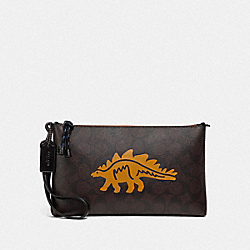COACH F79191 - LARGE WRISTLET 25 IN SIGNATURE CANVAS WITH DINOSAUR MOTIF QB/BROWN BLACK MULTI