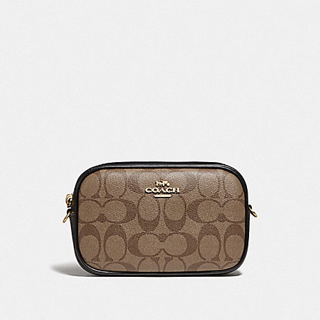COACH F79209 CONVERTIBLE BELT BAG IN SIGNATURE CANVAS KHAKI/BLACK/IMITATION GOLD