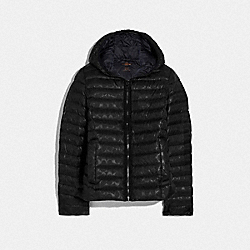 COACH F79480 Packable Signature Embossed Down Jacket BLACK