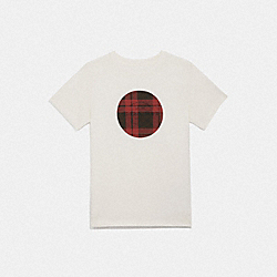 COACH PLAID T-SHIRT - F79481 - WHITE/RED