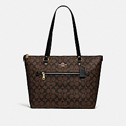 GALLERY TOTE IN SIGNATURE CANVAS - F79609 - IM/BROWN/BLACK