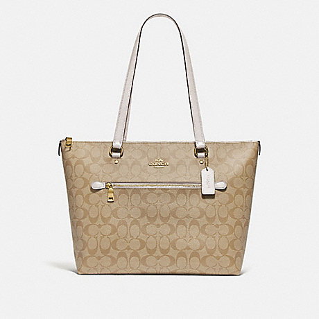 COACH F79609 GALLERY TOTE IN SIGNATURE CANVAS IM/LIGHT-KHAKI/CHALK