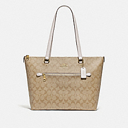 GALLERY TOTE IN SIGNATURE CANVAS - F79609 - IM/LIGHT KHAKI/CHALK