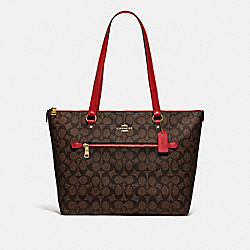 GALLERY TOTE IN SIGNATURE CANVAS - F79609 - IM/BROWN TRUE RED