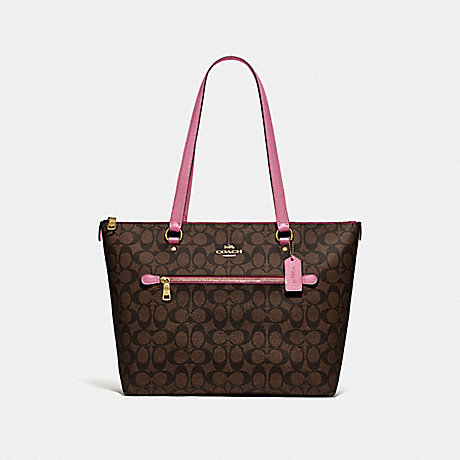 COACH F79609 GALLERY TOTE IN SIGNATURE CANVAS IM/BROWN PINK ROSE