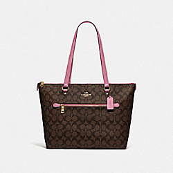 GALLERY TOTE IN SIGNATURE CANVAS - F79609 - IM/BROWN PINK ROSE
