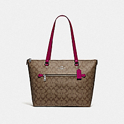 COACH F79609 - GALLERY TOTE IN SIGNATURE CANVAS SV/KHAKI DARK FUCHSIA