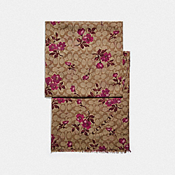 SIGNATURE FLORAL PRINT OBLONG SCARF - F79613 - KHAKI/BERRY
