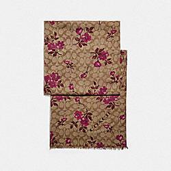 COACH F79613 Signature Floral Print Oblong Scarf KHAKI/BERRY
