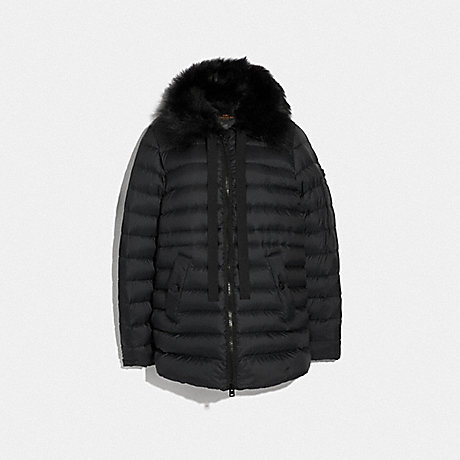 COACH F79683 DOWN JACKET WITH SHEARLING COLLAR BLACK