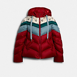 CHEVRON SHORT DOWN JACKET - F79685 - RED MULTI