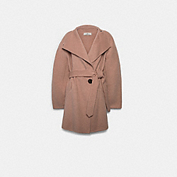 SHORT BELTED DOUBLE FACE WOOL COAT - F79696 - BLUSH