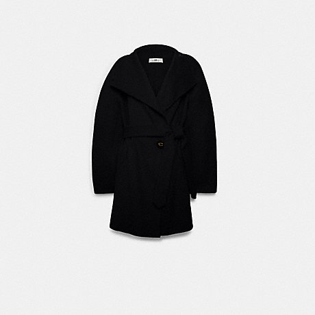 COACH F79696 SHORT BELTED DOUBLE FACE WOOL COAT BLACK