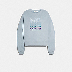 COACH F79703 - COACH RELAXED CREWNECK SWEATSHIRT PALE BLUE